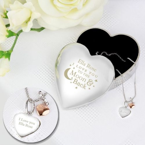 Engraved Moon and Back Heart Trinket Box & Silver Heart Pendant Gift Set